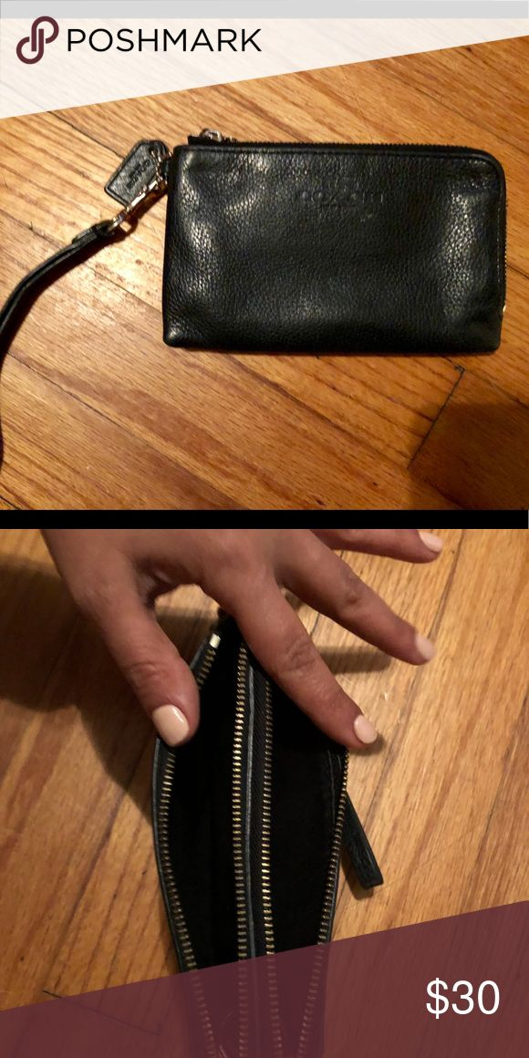 Coach wristlet Authentic black leather, coach wristlet . Used but very clean. Good condition. Coach Bags Clutches & Wristlets