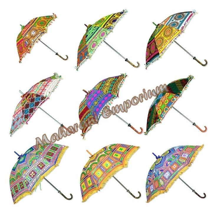 10 Pcs Traditional Indian small Umbrellas or Parasol wholesale lot Embroidered  | eBay