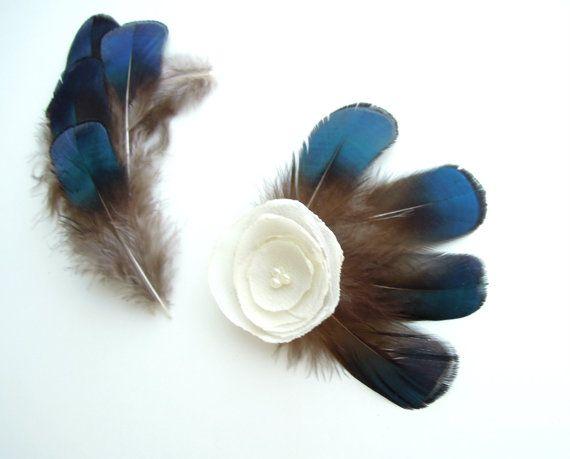 12 stuks blauw Fazant veren. DIY Feather fascinator veer broche, veer haar clip, veer charmes. UK verkoper