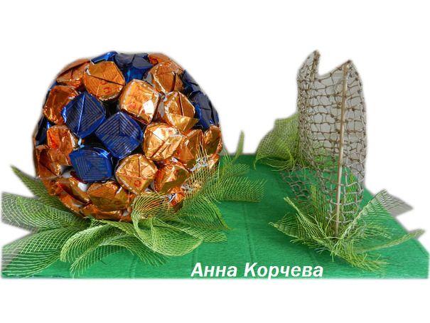"""Сувениры """"Футбольный мяч""""из конфет  (Конфетные букеты)"""