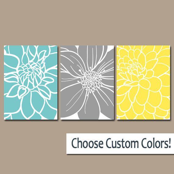BEDROOM Wall Art, CANVAS or Prints Aqua Gray Yellow Bedroom Artwork, Floral BATHROOM Pictures, Large Flower Burst Petals Set of 3 Home Decor