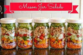 MASON JAR SALADS FOR A WEEK!!!! use wide mouth mason jars with plastic lids, dressing on bottom, lettuce/spinach on top... pinner says they'll last for 5 days in the fridge!