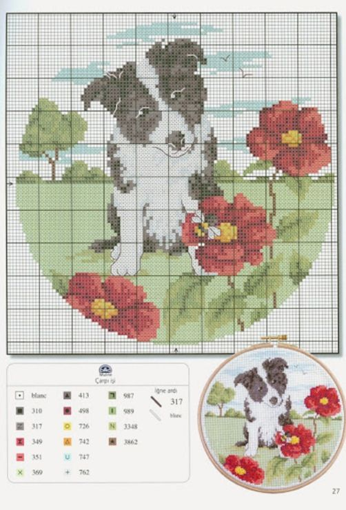 dog and flower cross stich patterns  @Annamarie Fontaine Collection
