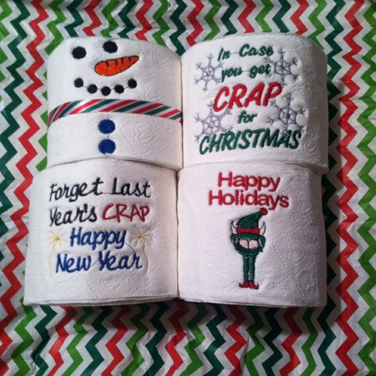 Custom Embroidery on Toilet Paper for that hard to Gift Person!  www.facebook.