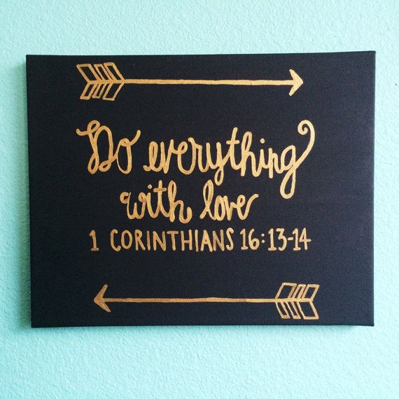 1 Corinthians 161314 Gold on Black by katybobaty on Etsy, $25.00