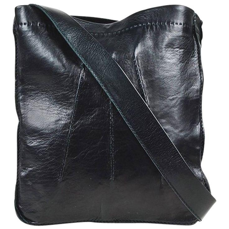 """Hermes Black Leather Reversible """"Clou de Selle"""" Shoulder Bag"""