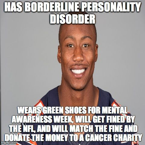 Brandon Marshall, wide receiver for the Chicago Bears, wears green cleats in support of Mental Health Awareness.