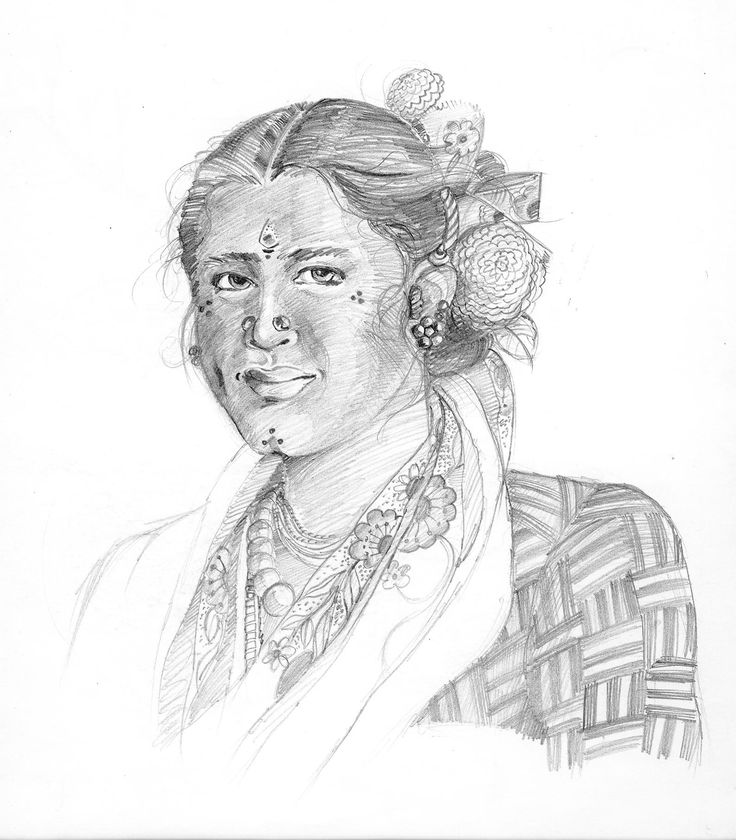 Pencil Sketch of Indian Fisherwoman
