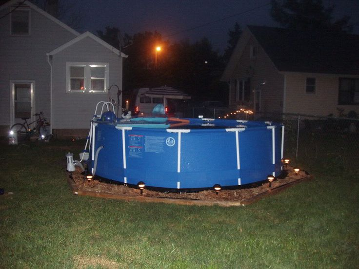 I like lights around it.  Above Ground Pool Landscaping | The Croppin' Cabin: How to Maintain A Metal-Frame Intex Pool