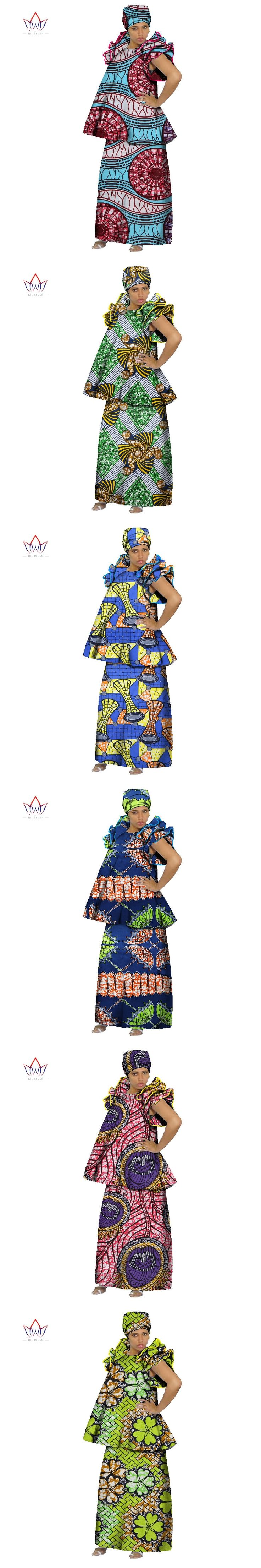 BRW 2017 African Skirt Sets for Women Dashiki elegant africa clothing Crop Top and Skirt Sets Traditional African Clothing WY073