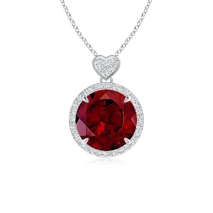Angara Square Garnet Diamond Halo Necklace in 14K White Gold AT6uG