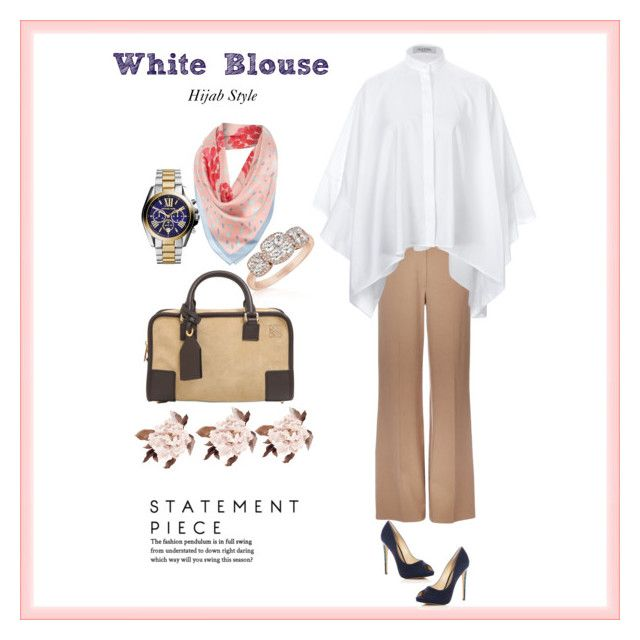 """My favorite batwing crisp white blouse "" by chevy-mona-adiwar on Polyvore featuring Wallis, Valentino, Alexandre Birman, LE VIAN, Radley, Loewe and Michael Kors"
