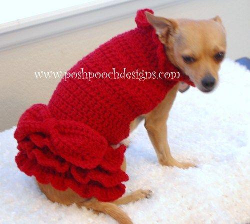 Red Ruffle Dog Sweater - Small Dog Sweater Dress with Ruffles 2-15 lbs | PoshPoochDesigns - Pets on ArtFire