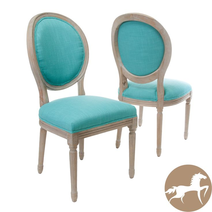 Queen Anne Teal Fabric Dining Chairs Set Of 2 By