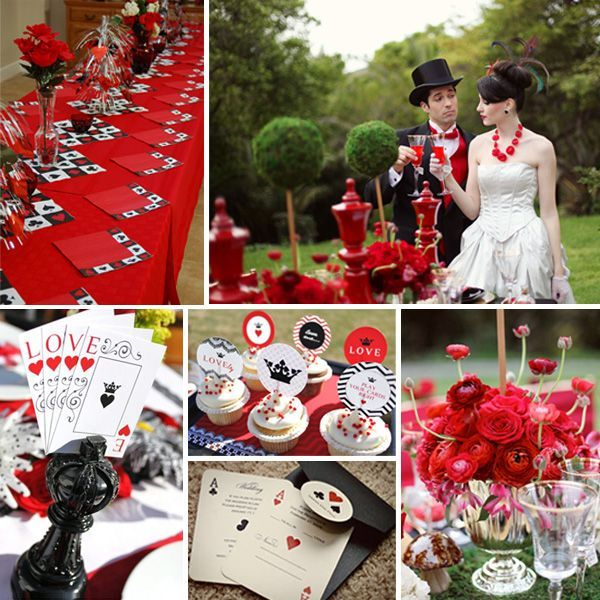 Inspiration Board For A Red And Black Vegas Wedding Theme