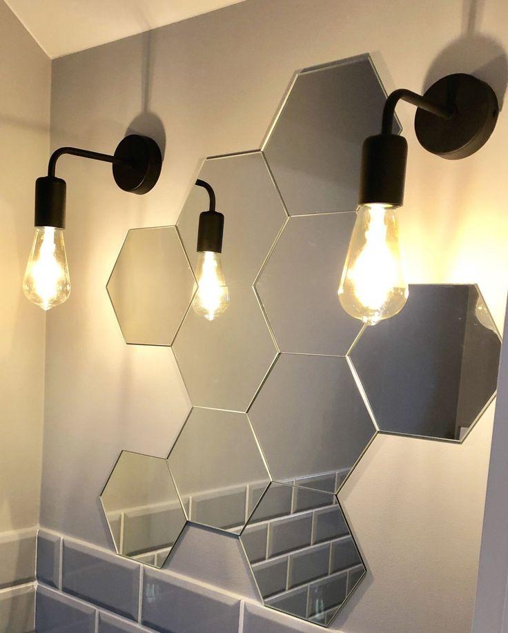 Toilet hexagon mirror # in 2020 | Mirror wall decor ...
