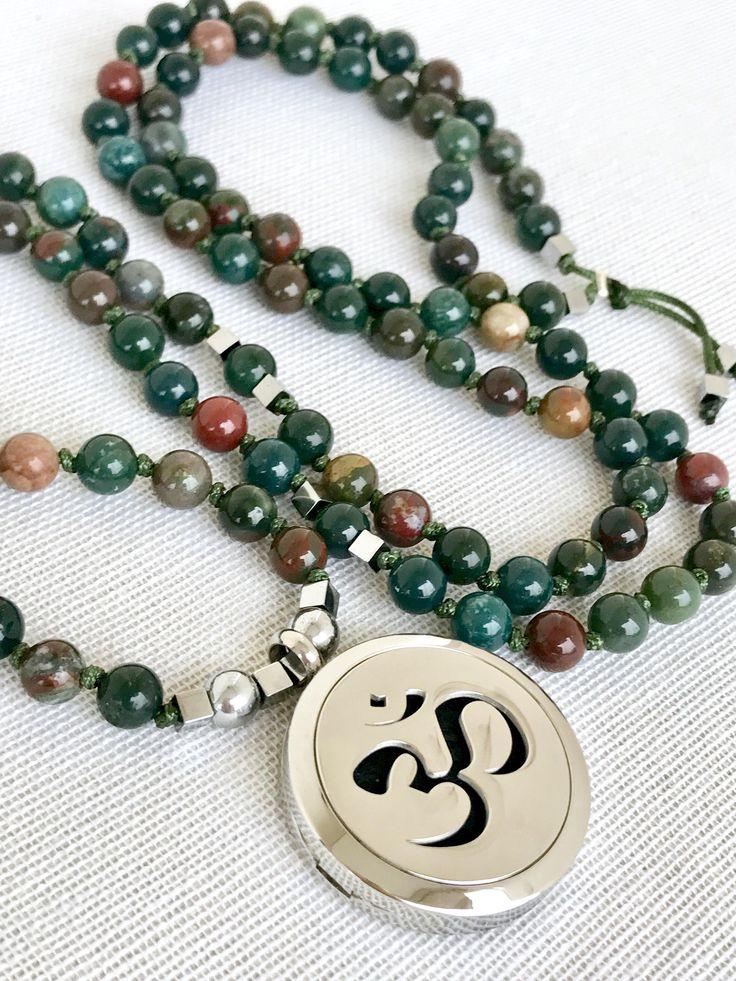 OM mala necklace bloodstone mala necklace oil diffuser om pendant necklace yoga mala meditation necklace 108 prayer beads mala aromatherapy by Katiaicrafts on Etsy