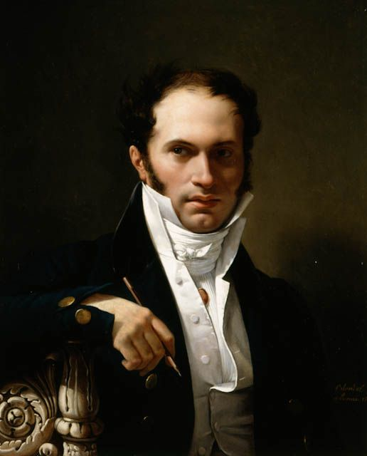 """Merry Joseph Blondel: """"Hippolyte Le Bas, Architect"""", 1811, Oil on canvas, Dimensions: frame: 36 3/8 x 31 1/8 x 3 in.; 92.3925 x 79.0575 x 7.62 cm; stretcher: 28 1/8 x 22 7/8 in.; 71.4375 x 58.1025 cm, Current location: Mount Holyoke College Art Museum;  South Hadley, Massachusetts."""