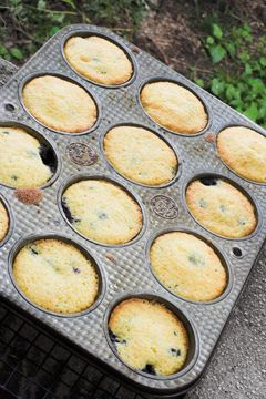 Jiffy Corn Mix Blueberry Muffins! I know it sounds strange but they are delicious.