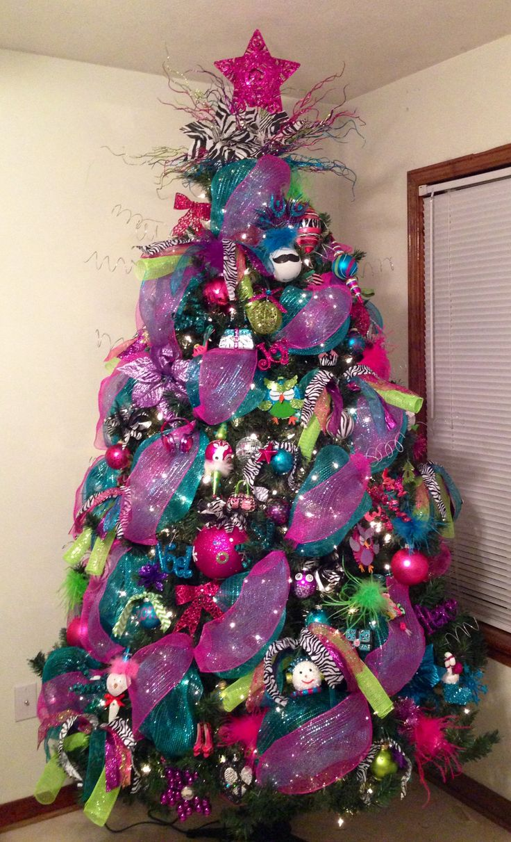 Big Lots Christmas tree - bold colors with accents of zebra print (love the  deco mesh!