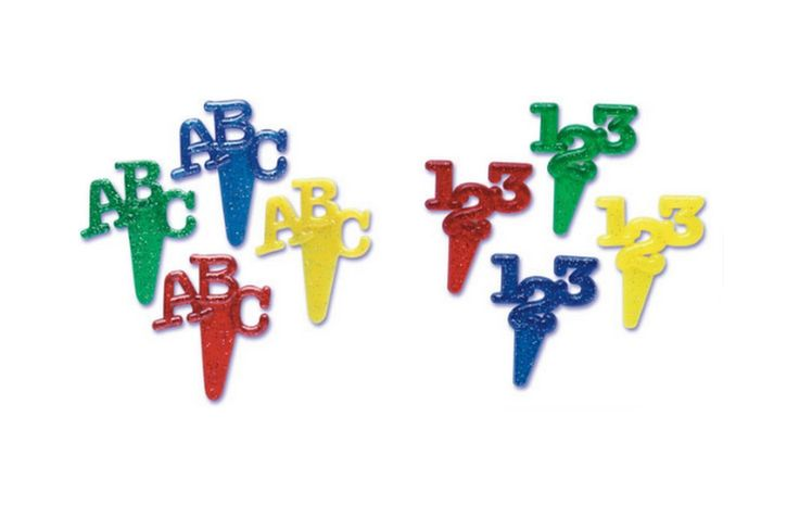 ABC and 123 Cake and Cupcake Toppers
