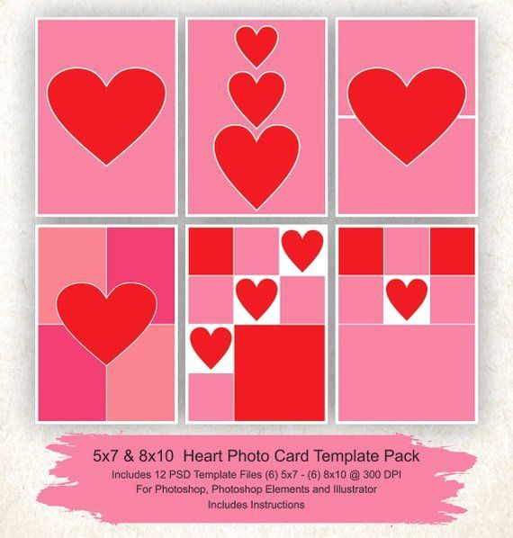5x7 Postcard Template Photoshop Elegant 5x7 And 8x10 Collage Template 12 Pack Hearts C Photo Collage Template Photo Card Template Free Printable Card Templates