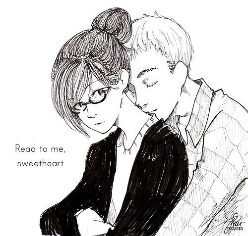 Cath and Levi <3 (Fangirl - Rainbow Rowell) (Is it weird that I want Cath's hairstyle and she's a fictional character? Such cute bangs!)