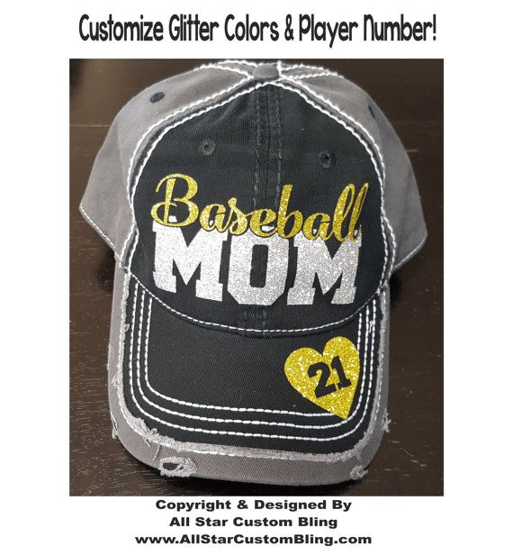 Glitter Baseball Mom Hat, Baseball Mom Distressed Hat, Mom Baseball Hat, Custom Baseball Hat, Personalized Baseball Mom Hat