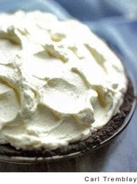 Chocolate Cream Pie  This is from America's Test Kitchen. I like it in a regular pie crust (half a double-crust recipe) better. For the chocolate, I use 1 oz unsweetened baker's chocolate, 4 oz Ghirardelli semi-sweet baking chocolate (1 bar), and 2 oz Ghirardelli 60% cacao bittersweet baking chocolate (1/2 bar).: Double Crust Recipe, Mothers, Recipe S, Pie Recipes, Taste