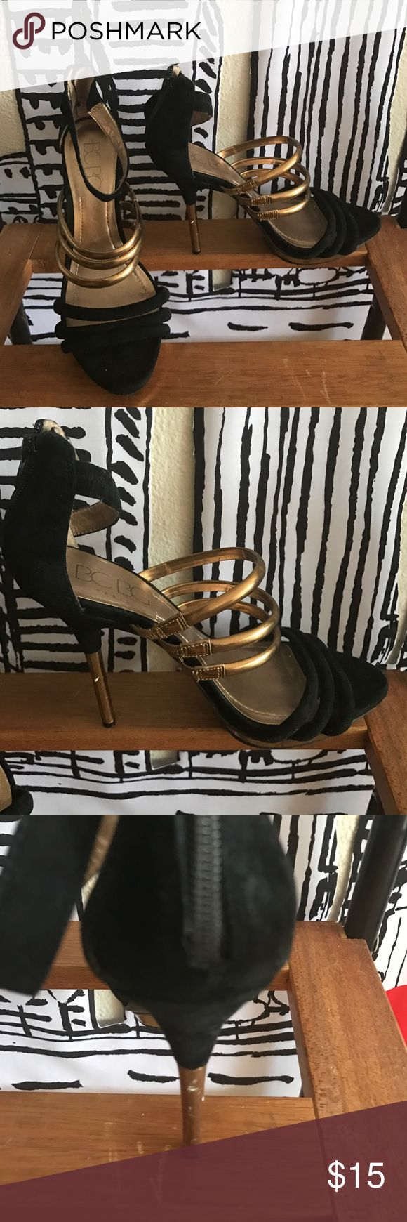 BCBG Strappy Heels BCBG Black and gold metallic strappy Heels. A little wear and tear on the heels but still very wearable. #BCBG #women #heels BCBG Shoes Heels