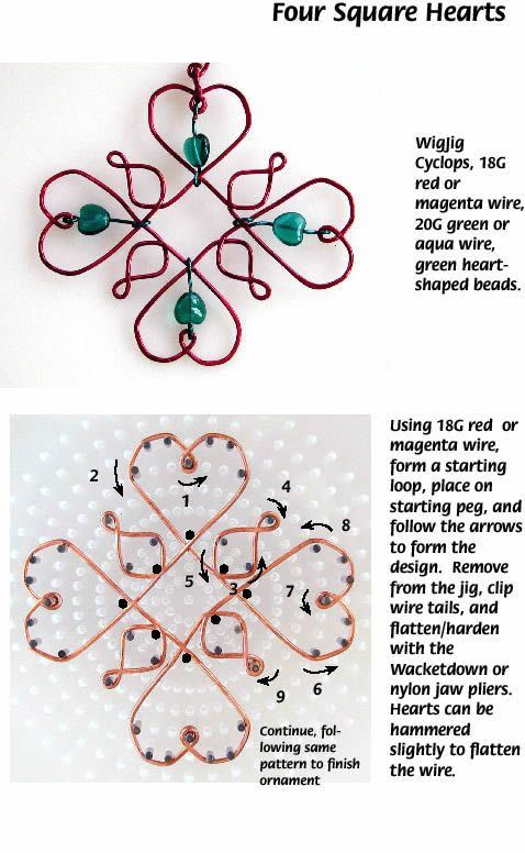 2016/02/15 Four Square Hearts Free Diy Jewelry Projects | Learn how to make jewelry - beads.us