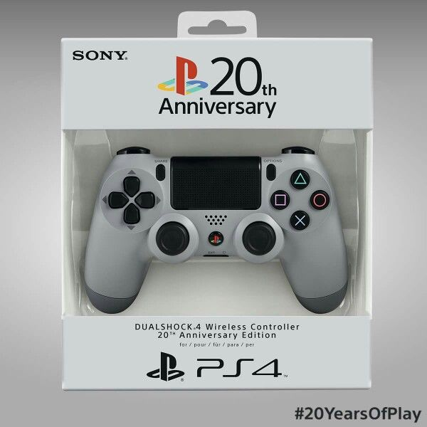 Sony Playstation 20th anniversary PS4 Dualshock 4 controller in Playstation One colours.