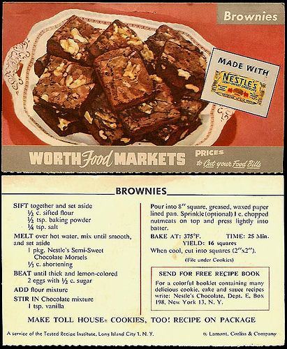 1950s Food 58 Vintage Recipes Worth Trying Today: Nestle's Semi Sweet Morsels Brownies