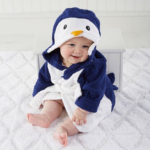 Monogrammed Baby Penguin Bathrobe by LEmbroideryAndDesign on Etsy