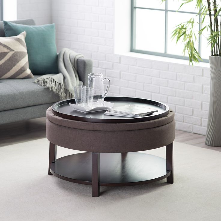 Belham living dalton coffee table round tufted storage ottoman with tray shelf chocolate Round ottoman coffee table with storage