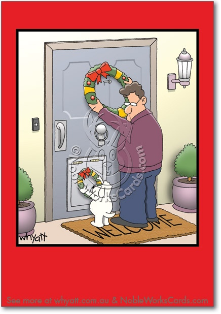 Dog Wreath Cartoon Christmas Humor Card Whyatt Tim