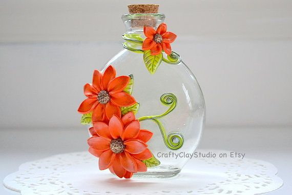 Flower Bottle OOAK Flower Decor Polymer Clay by CraftyClayStudio