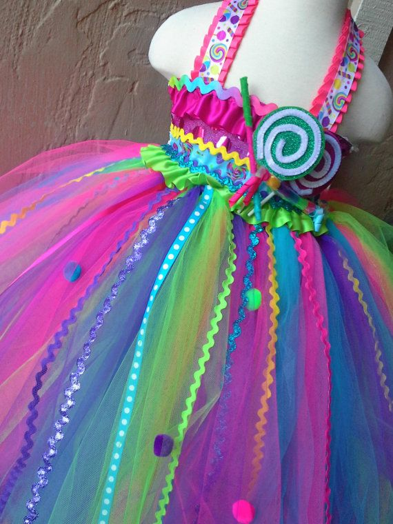 Candyland tutu dress-Candy land tutu dress- candy land party birthday dress on Etsy, $65.00. We could make our own with all the how to's on Pinterest.