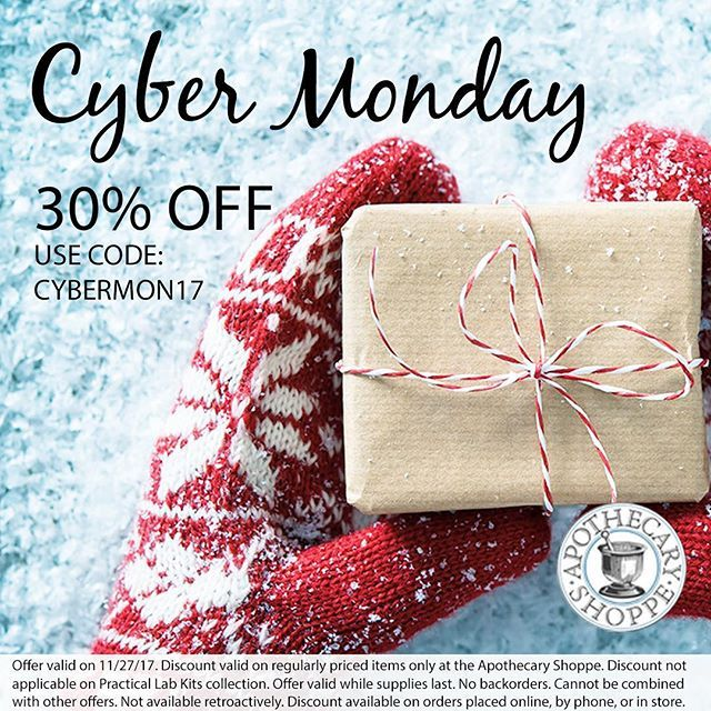 🚨 CYBER MONDAY is here! 🚨 Your favorite essential oils, herbs, natural remedies, and books are all 30% off at the ACHS college store, the Apothecary Shoppe! #cybermonday #naturalproducts #essentialoils #herbs #holidaygifts apothecary-shoppe.com