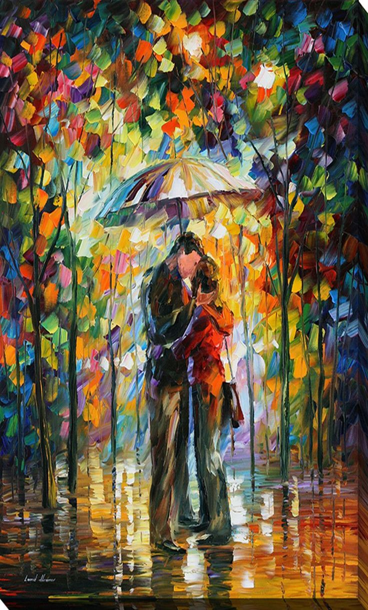 Kiss in the Park by Leonid Afremov Painting Print on Wrapped Canvas
