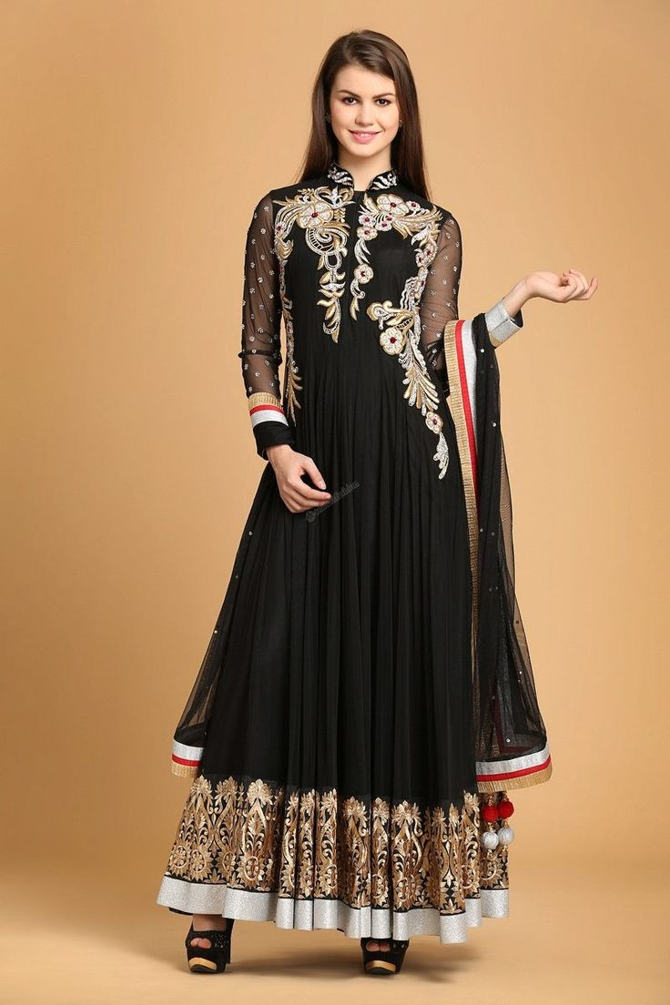 Black polyester net Anarkali Churidar with Full Sleeve Kameez and Black dupatta with price $132.83. Comes with Chinese Collar Kameez and Embellished with Embroidered, Dubka, Zircon work. This design is perfect for Party, Wedding, Festival, Ceremonial.  http://www.andaazfashion.us/black-polyester-net-churidar-1595.html