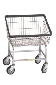 R&B Rolling Front Load Laundry Cart/Chrome Basket P/N 100T Comml Laundry Basket on Wheels
