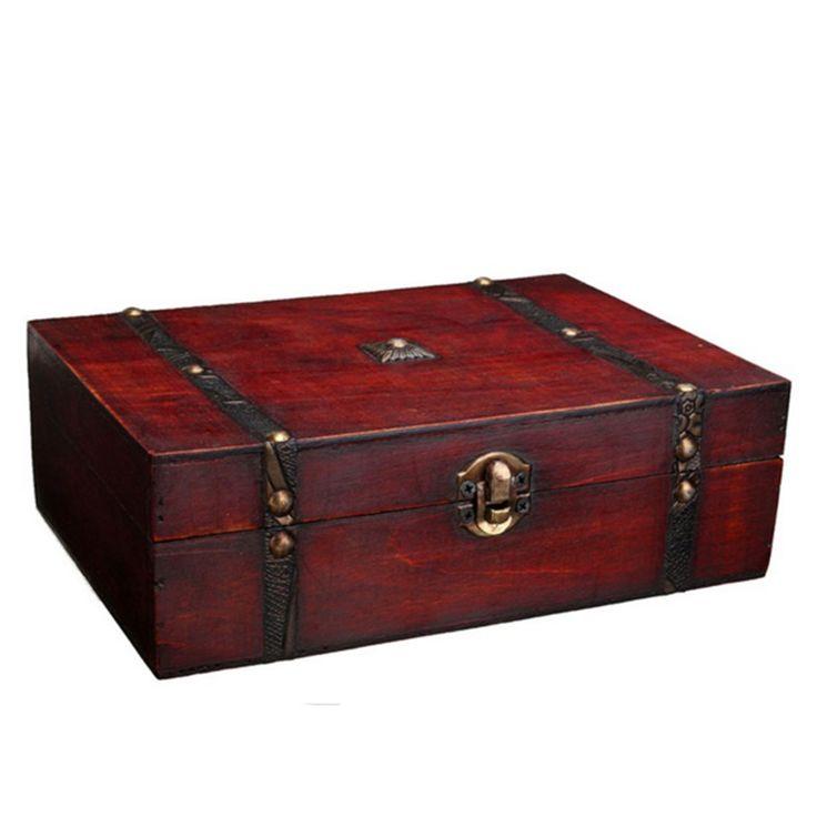 Купить товарЮвелирные изделия ретро металл хранения деревянный ящик, блокировка/Китайский антикварные ювелирные изделия деревянные управления ретро конфеты контейнер в категории  на AliExpress.