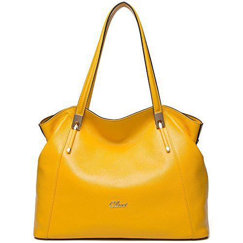 New Trending Shoulder Bags: CLUCI Leather Handbags Designer Tote Satchel Shoulder Bag Purse for Women Yellow. CLUCI Leather Handbags Designer Tote Satchel Shoulder Bag Purse for Women Yellow  Special Offer: $69.98  422 Reviews Upper Material:Cow Leather Lining Material:Fabric Show Color:Black, Blue, Wine Red, Navy Blue, Gray, Light Green, Brown, Purple, Yellow, Taro Pink, Green Weight:1 kg...