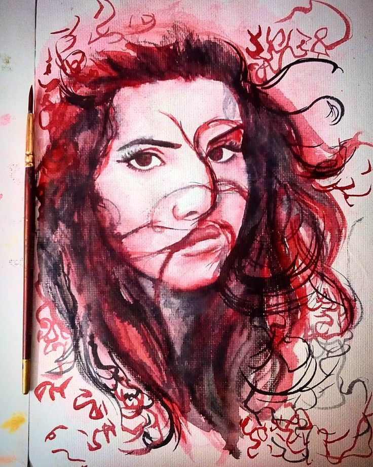 Watercolor Portrait of Lana Del Rey by Aashna Aasif ... crimson and scarlet monochrome.