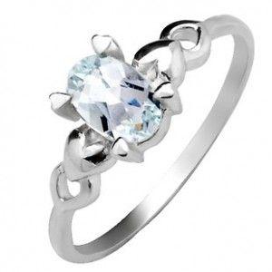 .5 (Half) Carat Aquamarine solitaire Engagement Ring for Her