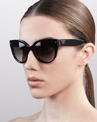 Prada Heritage Cat-Eye Sunglasses, Black - Neiman Marcus-Love the pair with black stones on the sides!