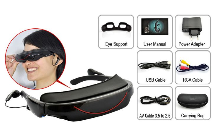 Portable Video Glasses - 72 Inch Virtual Screen, 4GB, AV function