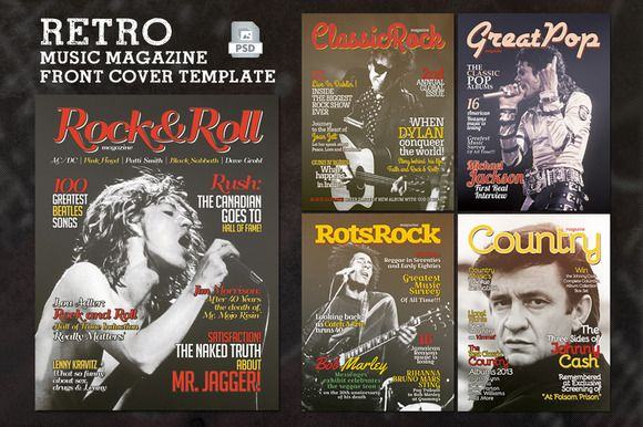 Check out Retro Music Magazine Front Cover by Rooms Design Shop on Creative Market