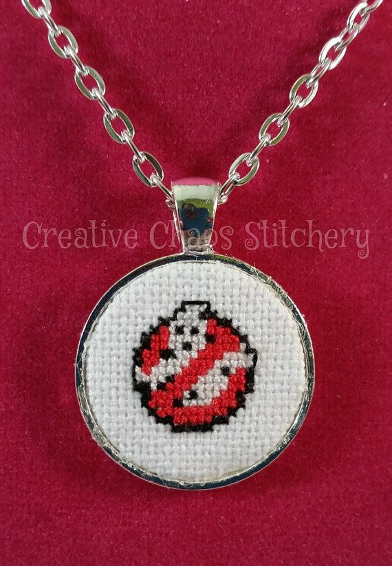 Cross Stitch Necklace  Movie  Ghost by chaoticstitchery on Etsy